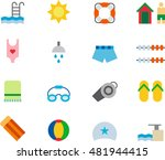 swimming pool colored flat icons | Shutterstock .eps vector #481944415