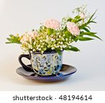 Bunch With Rose Dianthus In Cup