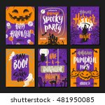 vector set of halloween... | Shutterstock .eps vector #481950085