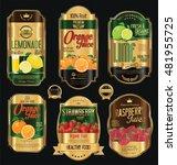 set of organic fruit retro... | Shutterstock .eps vector #481955725