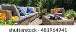 stylish garden furniture with... | Shutterstock . vector #481964941