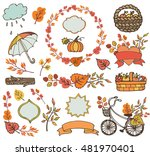 autumn elements.colored leaves  ... | Shutterstock . vector #481970401