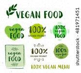 retro set of 100  bio  organic  ... | Shutterstock .eps vector #481971451