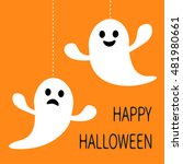 hanging ghost dash line smiling ... | Shutterstock . vector #481980661