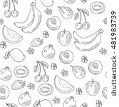the pattern of doodle of fruit  ... | Shutterstock .eps vector #481983739