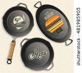 cookware set. retro vector.... | Shutterstock .eps vector #481985905