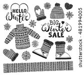 set drawings knitted woolen... | Shutterstock .eps vector #481994005