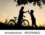 happy mother and son riding... | Shutterstock . vector #481996861