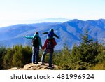 family with little child hiking ... | Shutterstock . vector #481996924