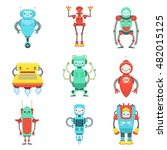 different cute fantastic robots ... | Shutterstock .eps vector #482015125