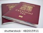 two isolated red czech passport ... | Shutterstock . vector #482015911