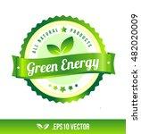 green energy badge label seal... | Shutterstock .eps vector #482020009