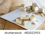 mini cardboard box with printed ... | Shutterstock . vector #482022931