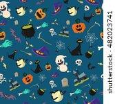halloween party seamless... | Shutterstock .eps vector #482023741