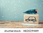 christmas holiday gift box with ... | Shutterstock . vector #482029489