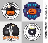 set of happy halloween badges ... | Shutterstock .eps vector #482038117