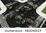 Small photo of Autonomous cars on a road with visible connection
