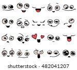 emotions. set of doodle faces.... | Shutterstock .eps vector #482041207