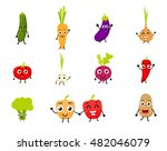 funny cartoon vegetables | Shutterstock . vector #482046079