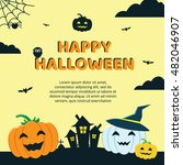 halloween concept banner with... | Shutterstock .eps vector #482046907
