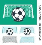 set of soccer balls with nets... | Shutterstock .eps vector #482047297