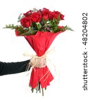 Stock photo woman s hand with a bouquet of red roses 48204802
