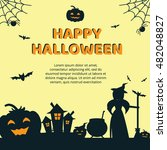 halloween concept banner with... | Shutterstock .eps vector #482048827