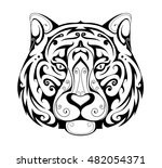 tiger head ornamental tattoo | Shutterstock .eps vector #482054371