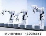 3d rendering white robotic arms ... | Shutterstock . vector #482056861