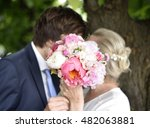 wedding couple holding the... | Shutterstock . vector #482063881