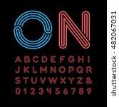 neon font. vector alphabet with ... | Shutterstock .eps vector #482067031