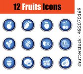 fruit icon set. glossy button...