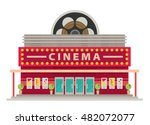 cinema building flat style.... | Shutterstock .eps vector #482072077