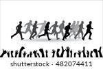 running vector silhouettes | Shutterstock .eps vector #482074411