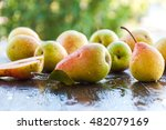 Fresh Ripe Organic Pears On...