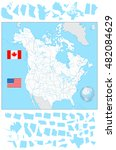 usa and canada blank map with...