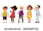set of sick children cartoon... | Shutterstock . vector #482084761