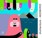 cute colorful monster cartoon...   Shutterstock .eps vector #482084905