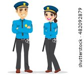 young female and male police... | Shutterstock .eps vector #482092879