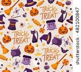 halloween seamless pattern   ... | Shutterstock .eps vector #482100847