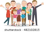 healthy family four generations  | Shutterstock .eps vector #482102815