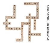 Small photo of Inspirational Wood Crossword. Human values to acquire so we can all live in harmony