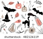 hand drawn set of spooky... | Shutterstock .eps vector #482126119