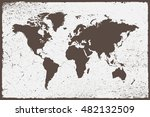grunge world map.old map of the ... | Shutterstock .eps vector #482132509