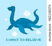 Stock vector pixel art game style flying loch ness cute monster vector illustration 482138374