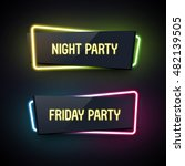 Set of geometric neon vector banners. Glossy plastic material style. Origami paper. Night Party and Friday Party labels.