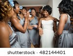 bride and brides maids getting... | Shutterstock . vector #482144401