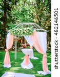 Small photo of Beautiful luxury wedding alcove in the garden