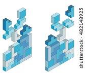 falling down color blocks. 3d... | Shutterstock .eps vector #482148925