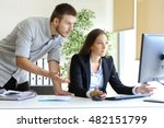 upset businesspeople trying to... | Shutterstock . vector #482151799